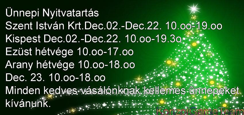 KonzolGame karácsonyi nyitvatartás