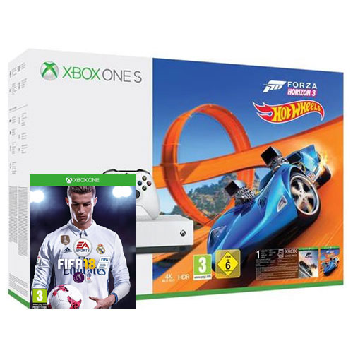 microsoft xbox one s slim 500gb forza horizon 3 fifa 18 hot wheels dlc 1 h nap game. Black Bedroom Furniture Sets. Home Design Ideas